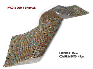 MANTA DE STRASS MULTICOR / DOURADO 10x45cm - 2100002034602