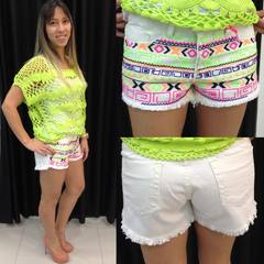 Shorts Sarja Étnico Bordado
