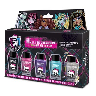 Kit de Esmaltes Monster High - 4 cremosos + 1 Super glitter